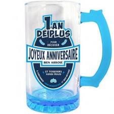 Chope à bière joyeux anniversaire bleue 50cl pour cadeau (x1) REF/CBC00B