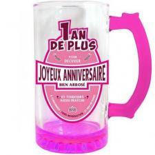 Chope à bière joyeux anniversaire fuchsia 50cl pour cadeau (x1) REF/CBC00F
