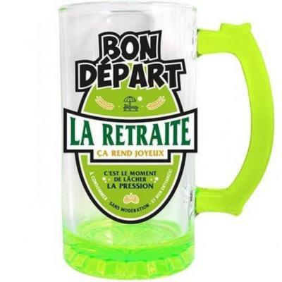 Chope à bière retraite vert 50cl pour cadeau (x1) REF/CBC11V