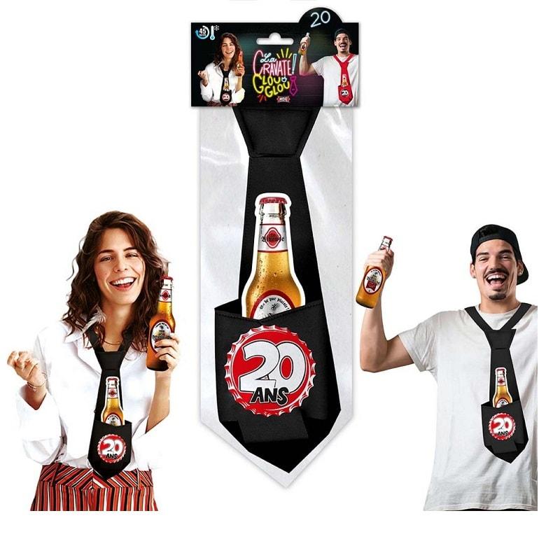 Cadeau cravate anniversaire 20ans noire