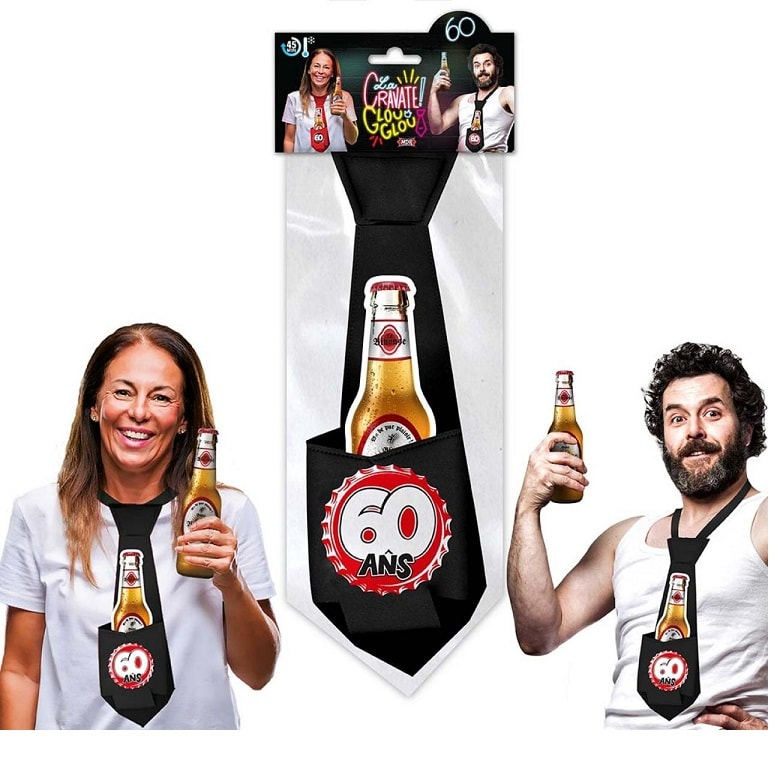 Cadeau cravate anniversaire 60ans noire