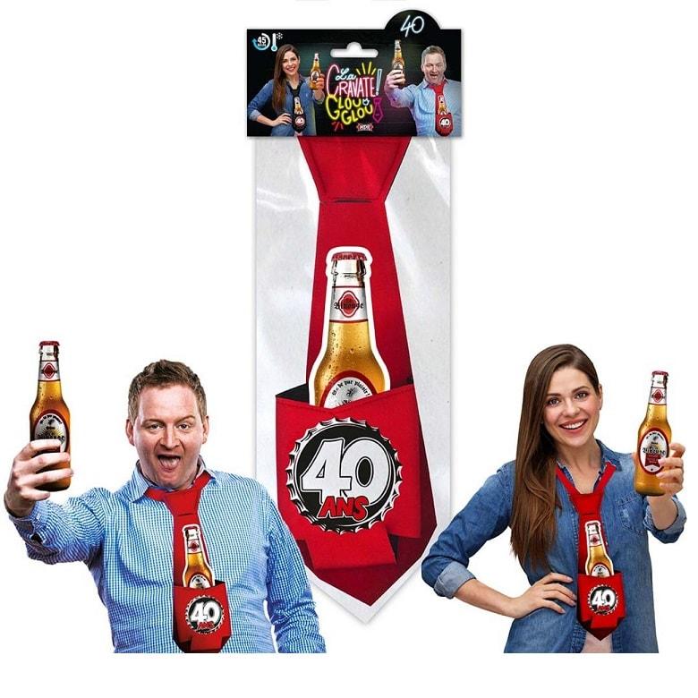 Cadeau cravate rouge anniversaire 40 ans