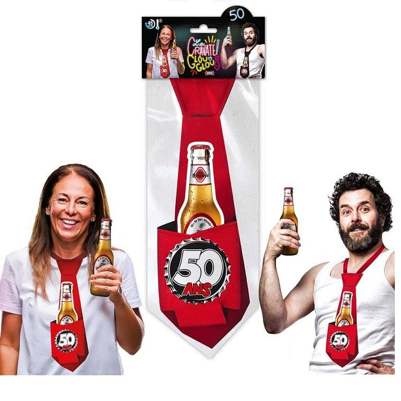 Cadeau cravate rouge anniversaire 50 ans
