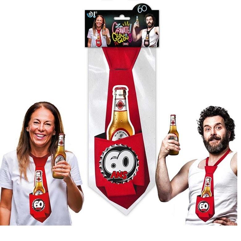 Cadeau cravate rouge anniversaire 60 ans