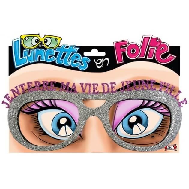 Cadeau de fete adulte lunettes enterrement de vie de jeune fille argent