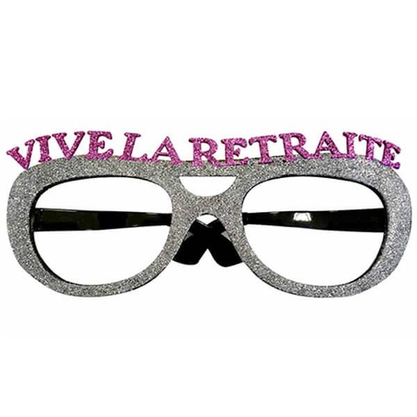 Cadeau de fete adulte lunettes pailletees retraite argent