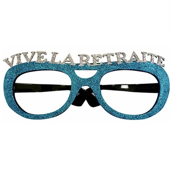 Cadeau de fete adulte lunettes pailletees retraite bleu