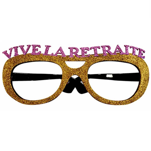 Cadeau de fete adulte lunettes pailletees retraite or