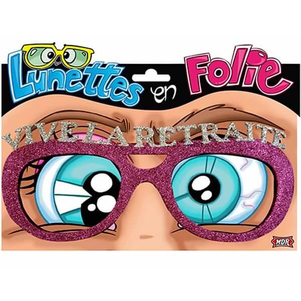 Cadeau de fete adulte lunettes pailletees retraite rose fuchsia