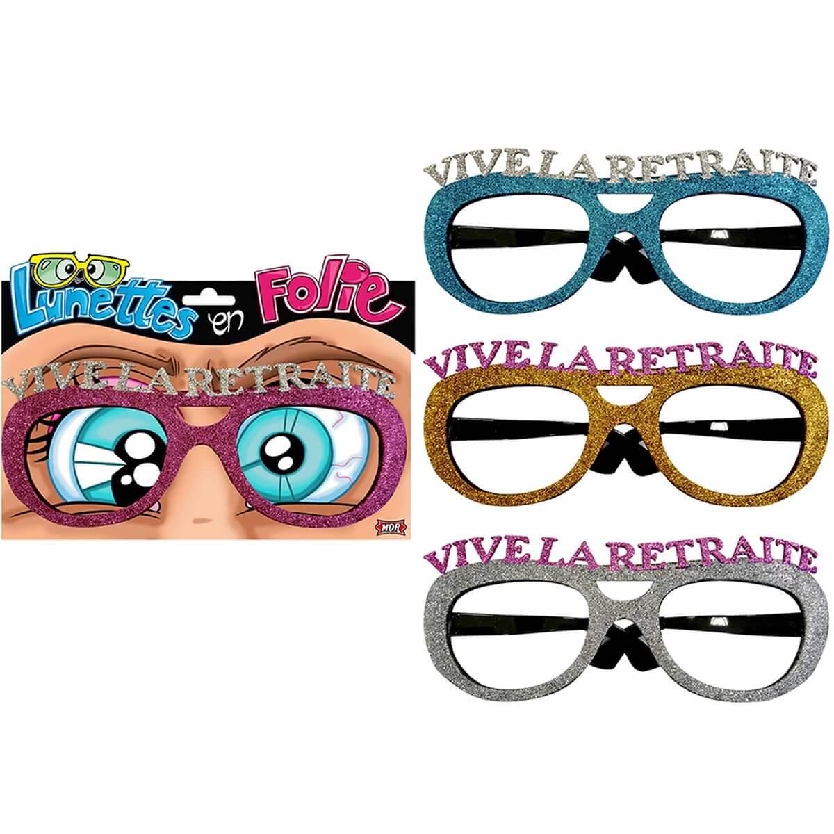 Cadeau de fete adulte lunettes pailletees retraite