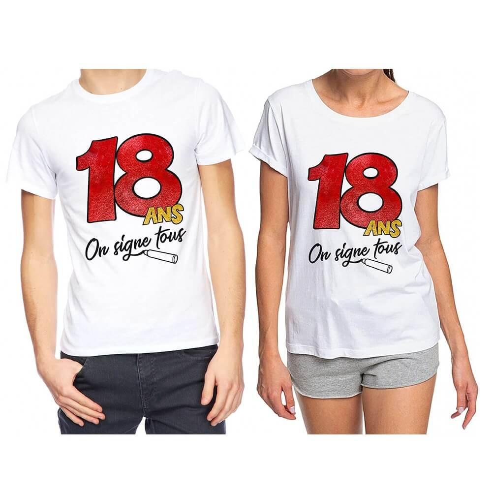 Cadeau de fete avec t shirt anniversaire 18 ans a dedicacer
