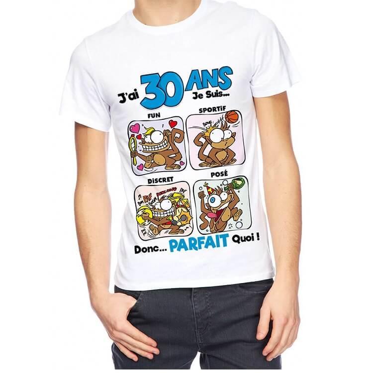 Cadeau de fete avec t shirt anniversaire 30 ans pour homme