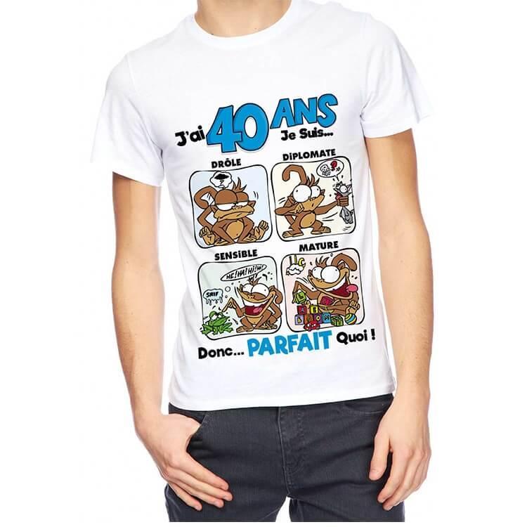 Cadeau de fete avec t shirt anniversaire 40 ans pour homme