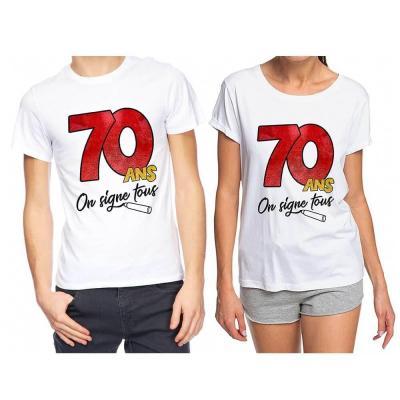 T-shirt anniversaire dédicace : 70ans (x1) REF/TSOSS208