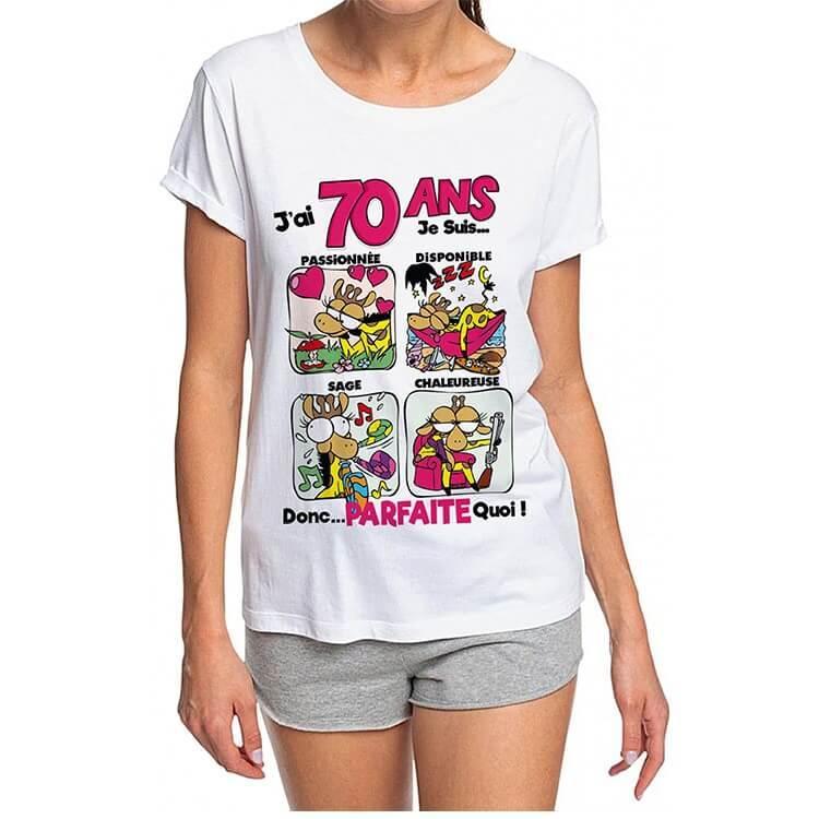 Cadeau de fete avec t shirt anniversaire 70 ans pour femme