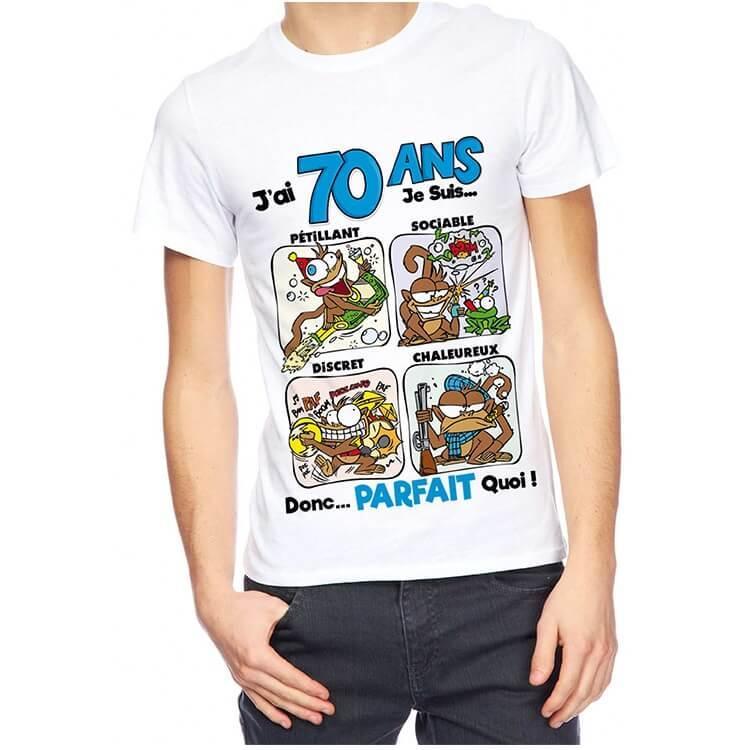 Cadeau de fete avec t shirt anniversaire 70 ans pour homme