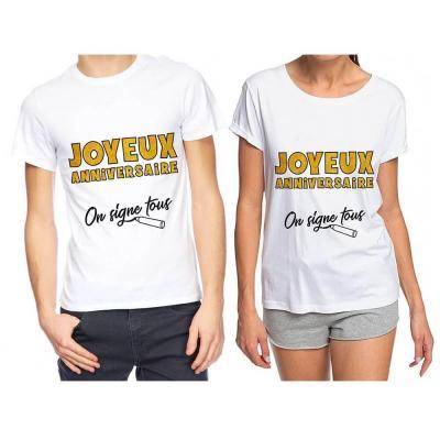 Cadeau T-shirt joyeux anniversaire blanc et or pailleté à dédicacer (x1) REF/TSOSS201