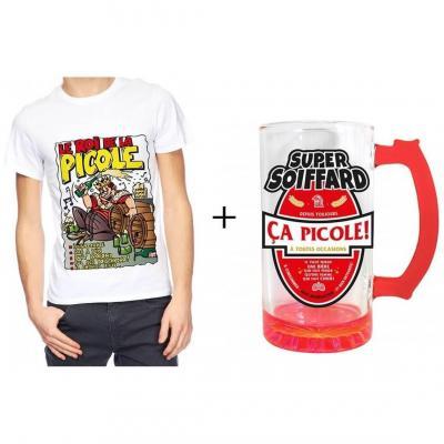 1 Pack cadeau de fête avec 1 chope à bière 50cl et 1 t-shirt roi de la picole.