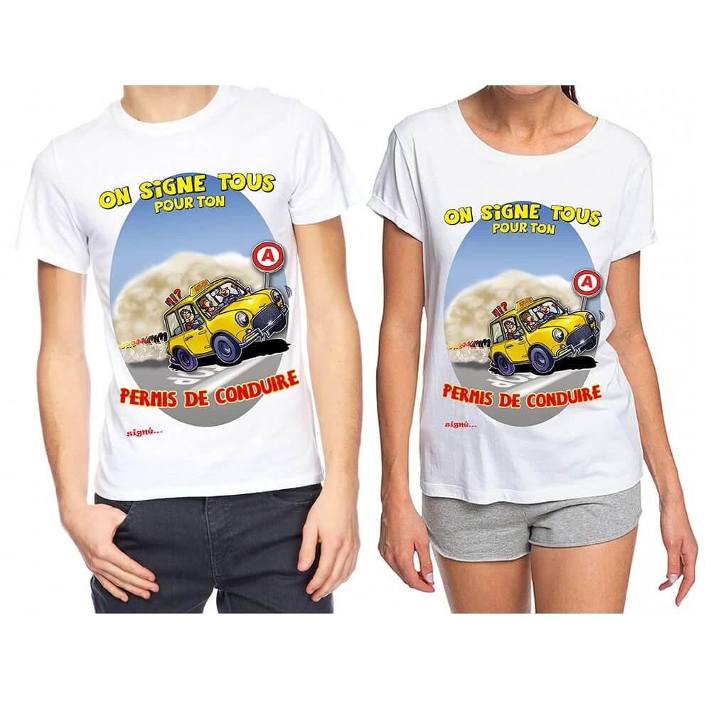 Cadeau de fete t shirt obtention permis de conduire