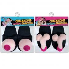 1 Pack cadeau enterrement de vie de célibataire avec chaussons zizi et seins (x1) REF/SEXG033-SEXG034