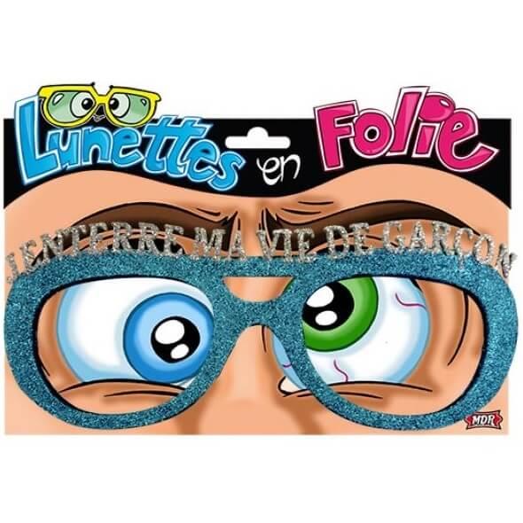 Cadeau fete adulte lunettes enterrement de vie de garcon bleu
