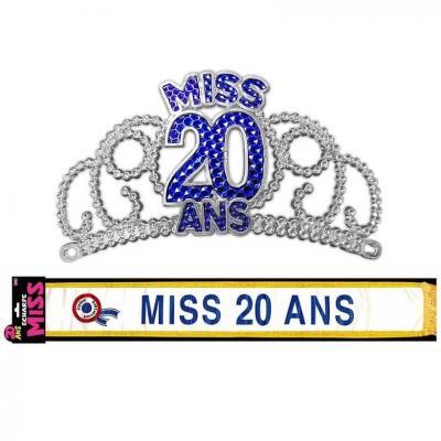 Cadeau de fête anniversaire diadème et écharpe 20ans (x1) REF/ECHB02-DM02B