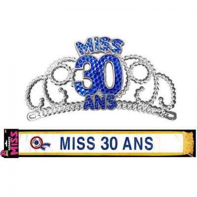 Cadeau de fête anniversaire diadème et écharpe 30ans (x1) REF/ECHB03-DM03B