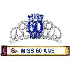 Cadeau de fête anniversaire diadème et écharpe 60ans (x1) REF/ECHB06-DM06B