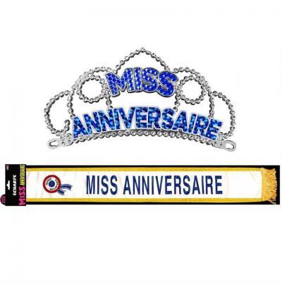 Cadeau de fête joyeux anniversaire diadème et écharpe bleu (x1) REF/ECHB00-DM00B