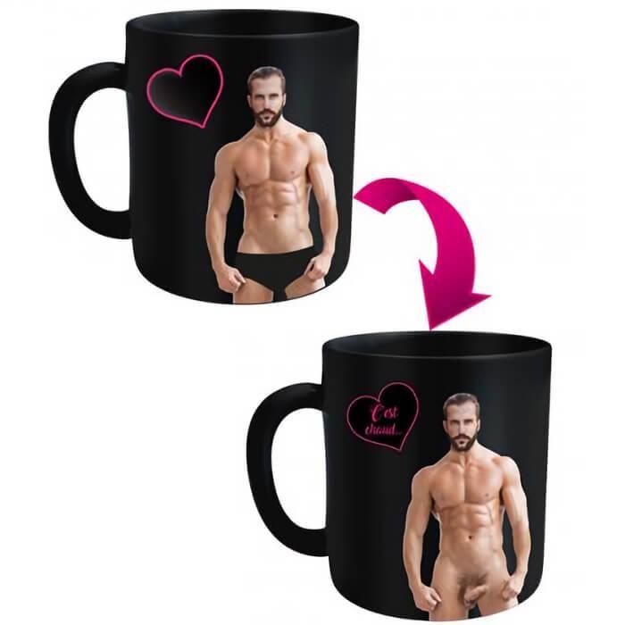 Cadeau fete mug thermo reactif deshabilleur homme