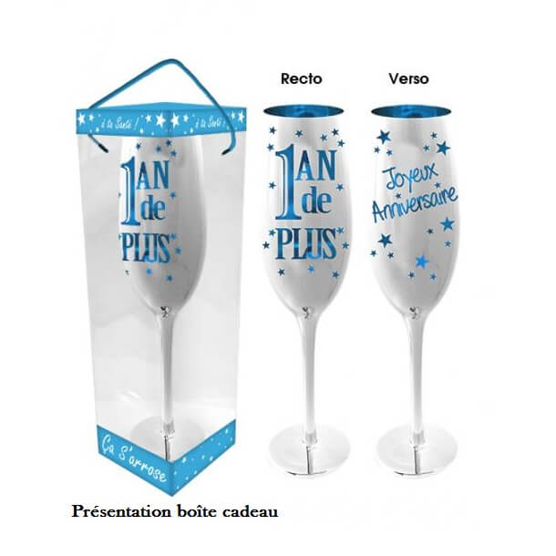 Cadeau flute anniversaire bleu