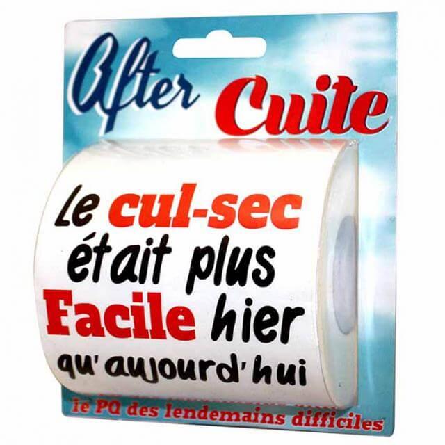 Cadeau humoristique papier toilette after cuite