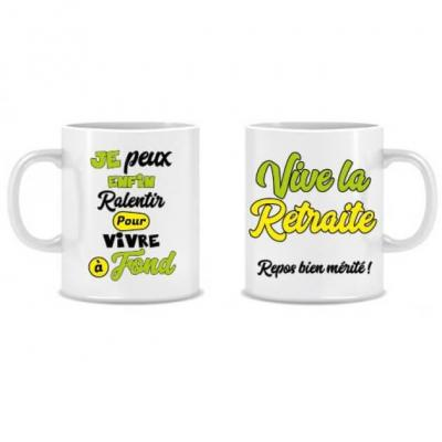 Cadeau festif et humoristique avec mug vive la retraite (x1) REF/MUGA09