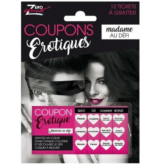 Cadeau sexy humoristique couple avec coupon de defi femme