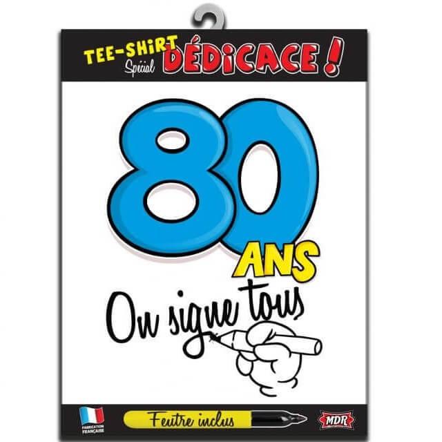 Cadeau t shirt anniversaire dedicace 80ans