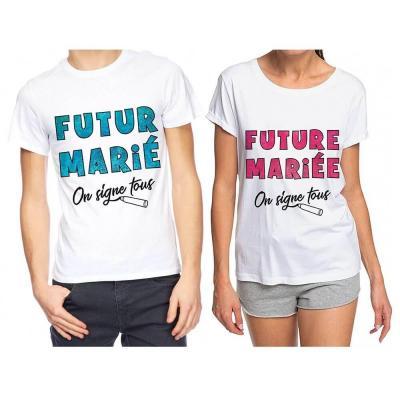 1 Pack cadeau avec 2 t-shirts dédicaces pour enterrement de vie de célibataire REF/TSOSS212-TSOSS211