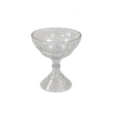 Calice transparent pailleté argent (x1) REF/BT2231