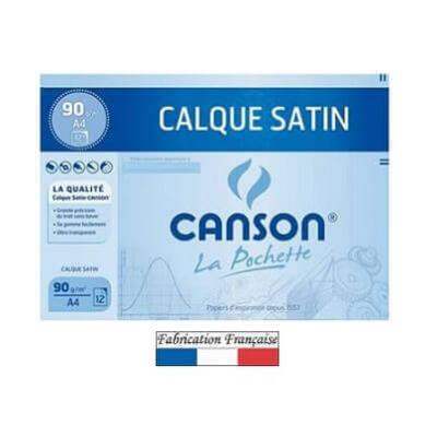 Feuille calque satin Canson A4 / 90g (x12) REF/200017154
