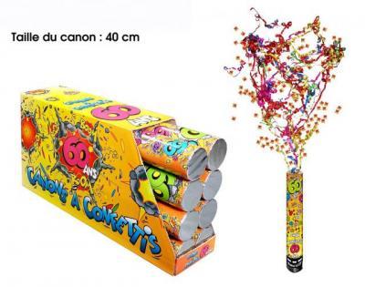 Canon à confettis anniversaire 60ans, 40cm (x1) REF/CAC06