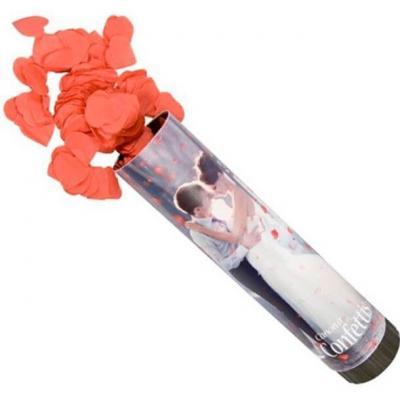 Canon à confettis mariage coeur rouge en papier (x1) REF/CONF007