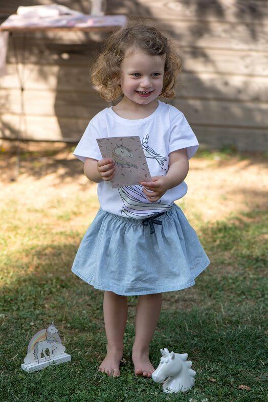 Carte cadeaux anniversaire enfant avec licorne
