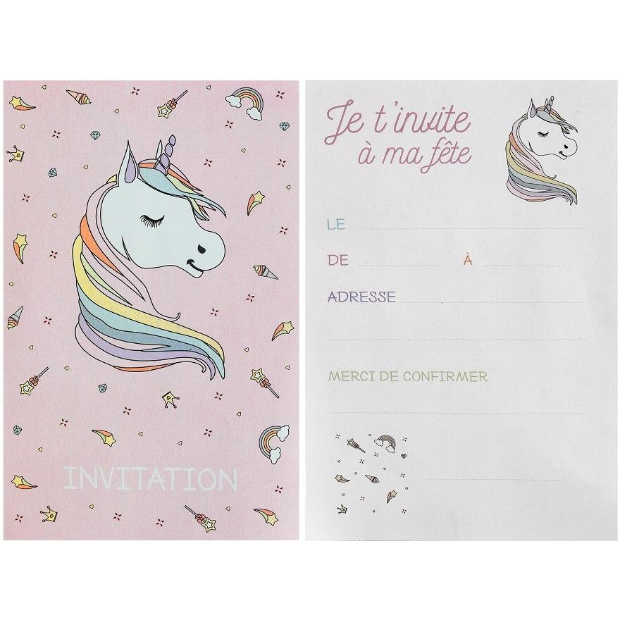 Carte d invitation anniversaire licorne rose