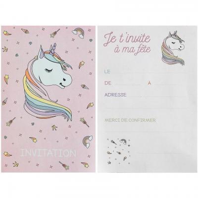Carte invitation anniversaire Licorne rose et blanche (x6) REF/6726