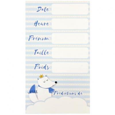 Carte de prédictions Baby Shower bleu ciel renard (x6) REF/BB109