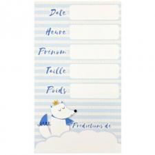 Carte de prédictions Baby Shower bleu ciel renard (x6) REF/BB109