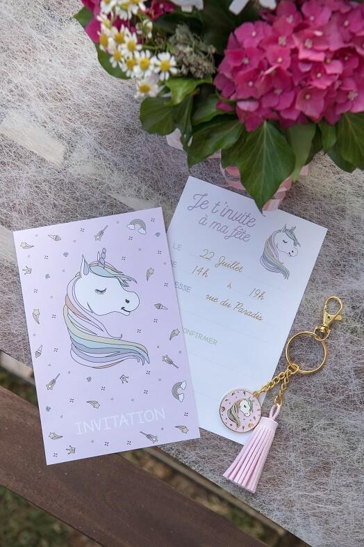Carte licorne rose pour fete anniversaire enfant
