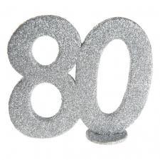 Centre de table anniversaire argent 80ans (x1) REF/4752