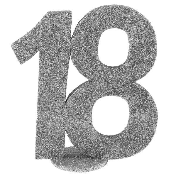 Centre de table anniversaire 18 ans argent paillete