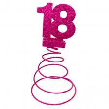 Centre de table anniversaire fuchsia 18ans (x1) REF/DEC768/18
