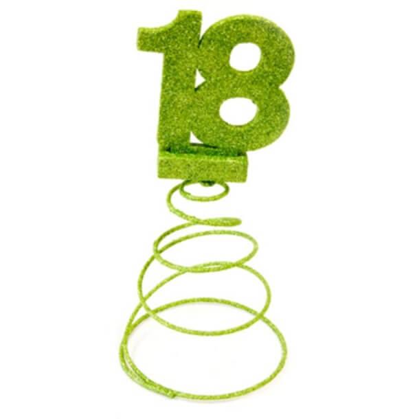 Centre de table anniversaire 18ans vert